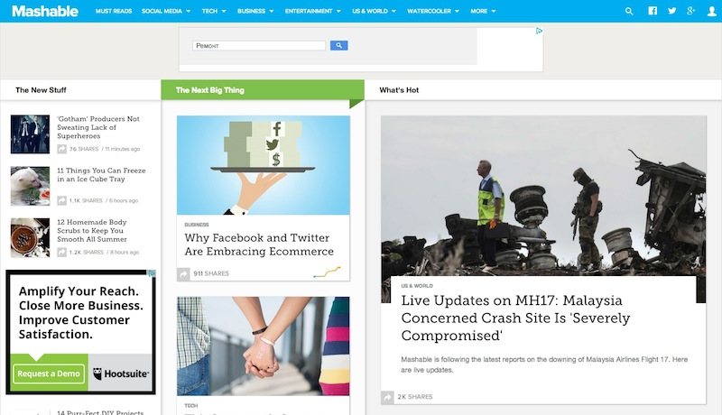 На сайте Mashable в последнее время появляется много международных новостей